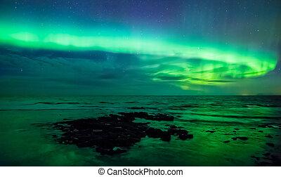 borealis, gardur, ijsland, dageraad, light), zee, op, (northern