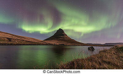 borealis, noordelijk, kirkjufell, ijsland, dageraad, licht