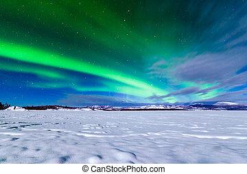 borealis, norteño, aurora, exhibición, luces, intenso