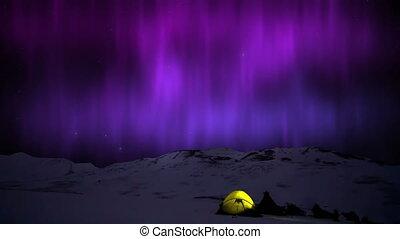 borealis, północny, śnieżny, jutrzenka, żółte światła, tent., góry