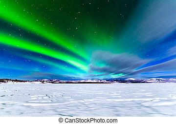 borealis, settentrionale,  aurora, mostra, luci, intenso