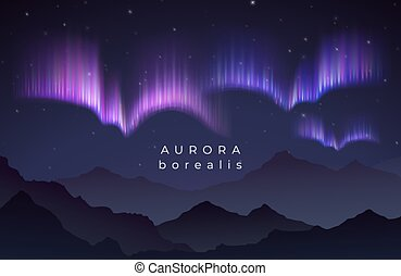 borealis, silhouette, illustration., noordelijk, bergen, starry, dageraad, hemel, vector, backgroung, nacht