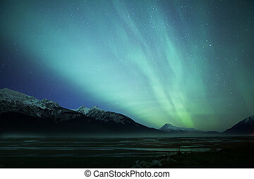 borealis, sobre, auroa, entrada, chilkat