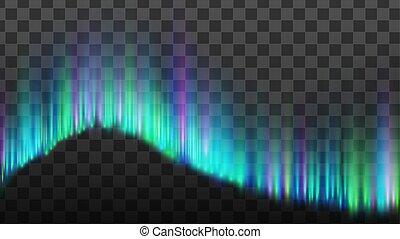 borealis, stroken, noordelijk, dageraad, lichten, vector