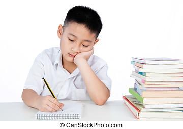 Bored Asian Chinese Little Boy Wearing Student Uniform...