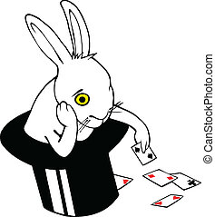 Bored bunny in magic hat - Bored white rabbit playing cards...