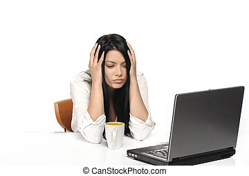 Bored business woman working on laptop looking very boring...