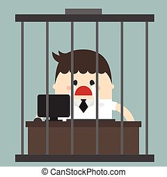 Bored businessman, Working in birdcage, sad businessman, flat design