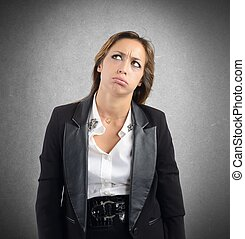Bored by work - Businesswoman tired and bored by her work