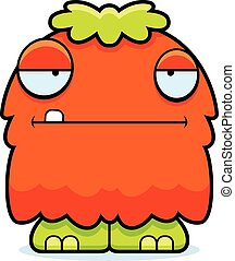 Bored Cartoon Fluffy Monster - A cartoon illustration of a...