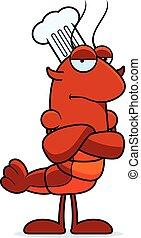 Bored Crawfish Chef - A cartoon illustration of a crawfish...