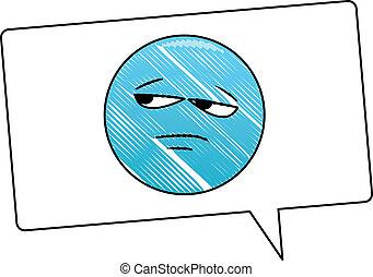 Bored emoticon in bubble scribble