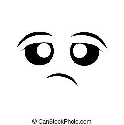 bored face cartoon expression icon. Vector graphic