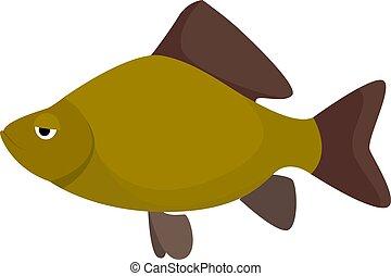 Bored fish, illustration, vector on white background.