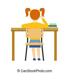 Bored Girl Sitting At The Desk In Classroom, Part Of School And Scholar Life Series Of Minimalistic Illustrations