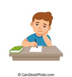 Bored kid at school - Bored kid doing homework or sitting on...
