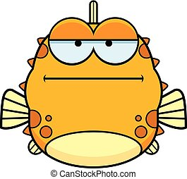 Bored Little Blowfish - A cartoon illustration of a blowfish...