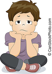 Bored Little Boy - Illustration of a Bored Boy with His Chin...