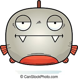 Bored Little Piranha - A cartoon illustration of a piranha...