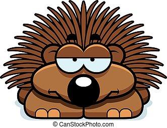 Bored Little Porcupine - A cartoon illustration of a little...