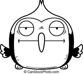Bored Little Woodpecker - A cartoon illustration of a...