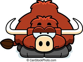 Bored Little Yak - A cartoon illustration of a little yak ...
