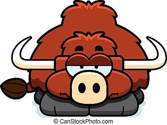 Bored Little Yak - A cartoon illustration of a little yak...