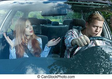 Bored man in a car