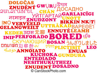Bored multilanguage wordcloud background concept