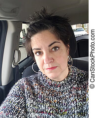 Bored Overweight 54 Year Old Woman Waiting in Car
