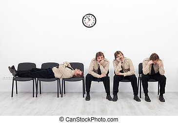 Bored people waiting - Bored, stressed and exhausted people ...