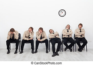 Bored people waiting - Bored, stressed and exhausted people...