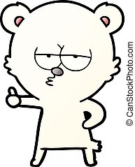 bored polar bear cartoon giving thumbs up sign