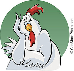Illustration of a bored rooster. Cartoon style. Green round background