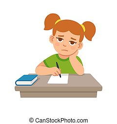Bored school girl doing homework. Cute cartoon vector...