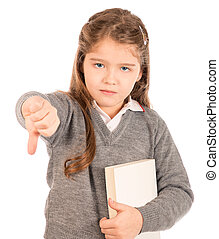 Bored schoolgirl giving a thumbs-down sign