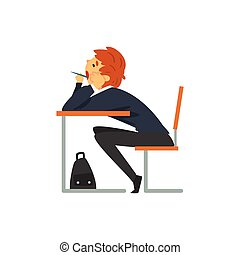 Bored Student Sitting and Yawning at Desk in Classroom, Side View, Schoolboy in Uniform Studying at School, College Vector Illustration