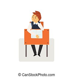 Bored Student Sitting at Desk in Classroom, Schoolboy Studying at School, College Vector Illustration