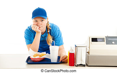 Bored Teen Fast Food Worker - Teenage worker in a fast food...