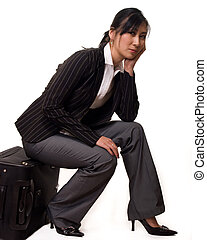 Bored waiting traveller - Full body of an attractive asian...