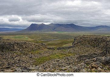 Borgarvirki is a columnar basalt fortress and a volcanic plug on Vatnsnes peninsula in North Iceland