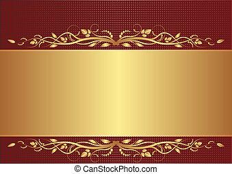 borgogna, e, oro, fondo