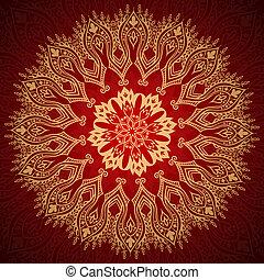 borgonha, padrão, com, ouro, renda, ornamento