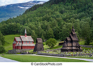 Borgund Stave Church complex - Old wooden Borgund Stave...