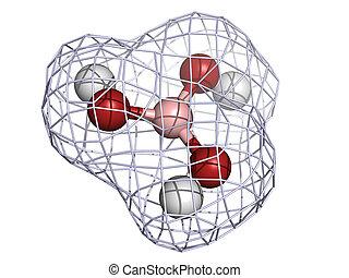 boric, οξύ , μόριο , (h3bo3), χημικός , structure.