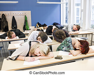Boring Class - Large Group of Sleeping students