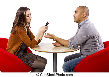 Boring Date On A Cell Phone - ignoring a boring date while ...