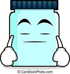 Boring face jar character cartoon style