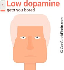 Boring face low dopamine vector illustration