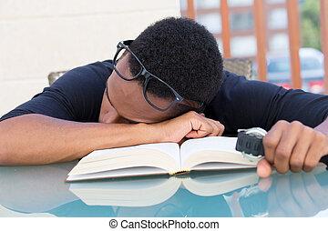 Boring homework - Closeup portrait, nerdy young man in big ...